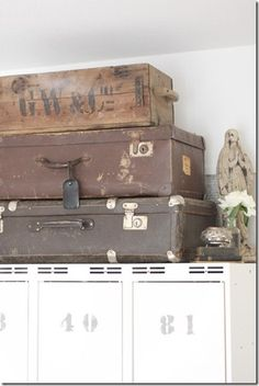 old suitcases and boxes