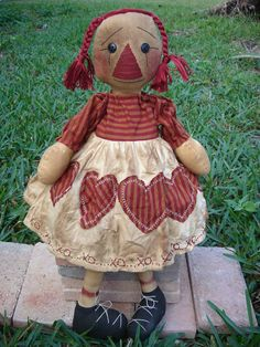 Pattern Rag doll Primitive cloth rag xoxo Raggedy Ann. $6.00, via Etsy.