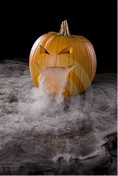 #Halloween Put a container full of dry ice and water in a jack-o-lantern. To make it extra cool, add a glow stick to light up the fog.