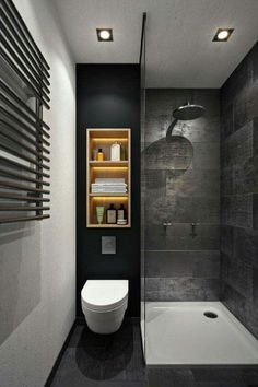 Illuminated light wood shelving completely changes the look in this stylish small bathroom. #luxurytoilet