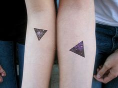 Beautiful Galaxy Triangle Tattoos On Forearms