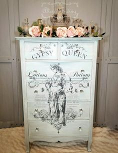 Beachy, Shabby Chic, Chalk Painted Dresser with Gypsy IOD Decor Transfer. I created this look with a mix of greys, whites and sea green, followed by the IOD Gypsy Decor Transfer. #shabbychicdressersgrey