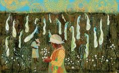 """I was just six when I dragged / my first bag down a row of cotton.""        Voice of Freedom: Fannie Lou Hammer: The Spirit of the Civil Rights Movement by Carole Boston Weatherford, illustrated by Ekua Holmes (Candlewick, August 2015). All rights reserved."