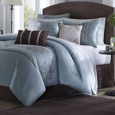 Madison Park Brussel 7 Piece Comforter Set. comforter, shams, skirt, 3 decorative pillows