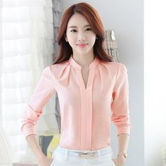FGLAC Chiffon blouses New 2018 Women shirt Fashion Casual Long-sleeved chiffon shirt Elegant Slim Solid color lady blusas shirt Sexy Shirts, White Shirts, Chiffon Shirt, Blouses For Women, Ladies Blouses, Ladies Tops, Office Wear, Office Outfits, Casual Office