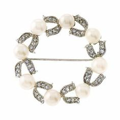 Circle C.Z. Diamond Faux Pearl Wreath Brooch (Nice Gift, Special Sale) Genevive. $62.00. Save 65% Off!