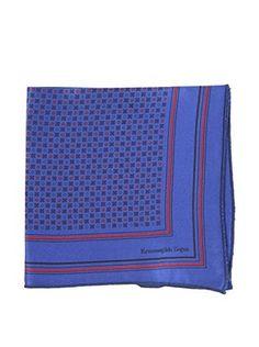 Ermenegildo Zegna Men's Silk Pocket Square, Blue