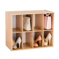 """Our 8-Pair Shoe Organizer is an updated organization classic with generously sized compartments to accommodate women's large fashion footwear, men's shoes, and smaller handbags and clutches. When used vertically, the cubbies can accommodate 8-1/2"""" x 11"""" paper - ideal for the office. Slotted edges keep the dividers in place so that the unit can be positioned vertically or horizontally to maximize your space. Multiples can be stacked or placed side-by-side."""