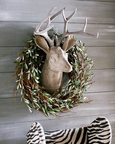 Park Hill Collections Estate Stone Deer Head Mount & Olive and Twig Wreath - Neiman Marcus