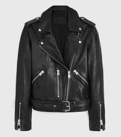 All Saints Balfern Leather Biker Jacket in Black Ramones, All Saints Leather Jacket, Biker Leather, Leather Pants, Allsaints Looks, Guess Jeans, Who What Wear, Capsule Wardrobe, Wardrobe Basics