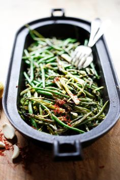 Charred Green Beans and Scallions with Bagna Cauda