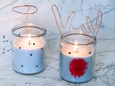 diy-bougies-renne-noel Anniversaire Cow-boy, Candle Holders, Diy, Candles, Montessori, Wooden Reindeer, Glass Candle, Thermomix, Bricolage