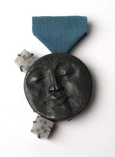 'Unaware' man in the moon brooch. Oxidised silver, Druzy, vintage ribbon.  Zoe Arnold