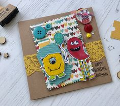 Monster card personalised card girl 2nd birthday monsters