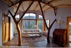 earthbag house interior - Google Search