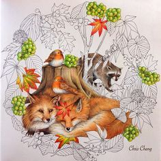 From Menuet de Bonheur by Kanoko Egusa. Colored by Chris Cheng Colour Pencil Shading, Color Pencil Art, Colored Pencil Tutorial, Colored Pencil Techniques, Enchanted Forest Book, Christmas Paintings On Canvas, Copics, Prismacolor, Fox Art