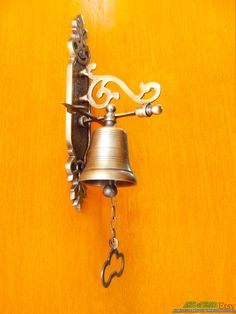 """Vintage Antique Solid Brass Gate Front Door Bell  8"""" inches Tall Excellence knock door"""