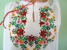 RESERVED for BELLA ONLY Perfect Hungarian embroidered folk hippie Matyo Kalocsa blouse from Hungary