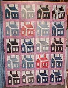Vintage Hand Made Folk Art School House Pattern Quilt Top 1920-30's Nice Colors   eBay, muleskinner
