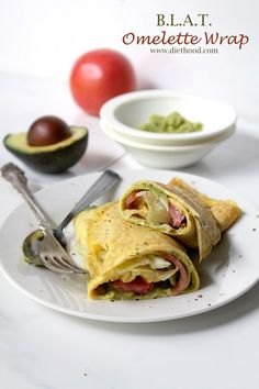 B.L.A.T. Omelette Wrap: Egg omelette topped with an avocado spread, bacon, lettuce, tomato, and rolled into a wrap.