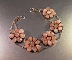 Polished Rose Quartz Necklace Rosette Flower Medallion Choker