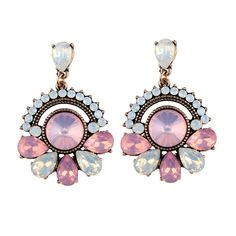Statement Earrings With Pink Crystals - Aphrodite Store