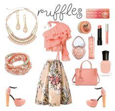 """Peach Ruffles"" by siriusfunbysheila1954 ❤ liked on Polyvore featuring Rosie Assoulin, Fendi, Iron Fist, Shashi, Decree, Too Faced Cosmetics, Ilia, Deborah Lippmann, Bobbi Brown Cosmetics and The Body Shop"