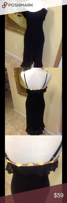 Betsy Johnson Black Lace Dress Size M Stunning Betsy Johnson dress with lace floral roses trim size M. Recently cleaned, asymmetrical hem, gorgeous stretch fabric, low price. betsy johnson Dresses Midi