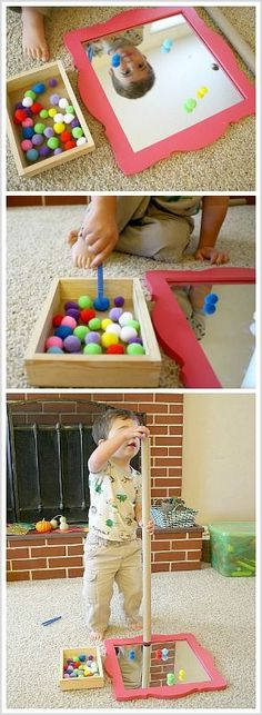 Invitation to Play for Toddlers using a mirror, pompoms, and a cardboard tube! Great way to work on fine motor skills and explore science with mirror reflections, as well as emotions- so much learning! Fine Motor Activities For Kids, Games For Toddlers, Sensory Activities, Infant Activities, Educational Activities, Preschool Activities, Kids Learning, Sensory Play, Toddler Play