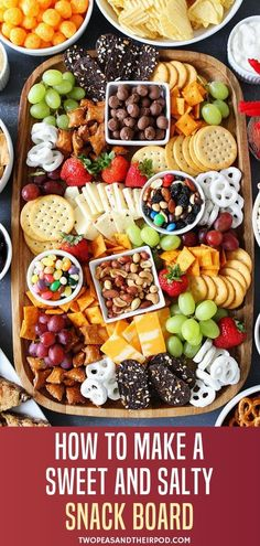 The perfect Sweet and Salty Snack board for your game day appetizer! This party snack idea is so easy to put together with something for everyone to eat. Your guests will love munching on this fun spread of food. Save this Super Bowl party idea for later! Easy Party Food, Snacks Für Party, Food For Superbowl Party, Summer Party Foods, Party Food Spread, Birthday Snacks, Party Sweets, Breakfast Party, Charcuterie Recipes