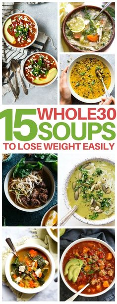 These Whole 30 soup recipes are AMAZING ways to lose weight easily! Great clean eating, gluten free and paleo soup recipes that are perfect healthy dinner ideas for cold winter nights.