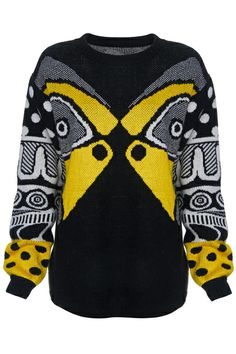 ROMWE   ROMWE Knitted Kiss Fish Black Long-sleeved Jumper, The Latest Street Fashion