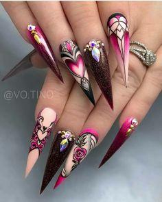 Beautiful Nail Designs, Beautiful Nail Art, Gorgeous Nails, Pretty Nails, Bling Nails, Stiletto Nails, Swag Nails, Nagellack Design, Nails Polish