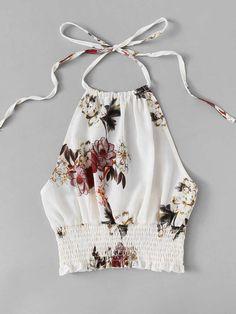 Shop Floral Print Frill Hem Halter Top at ROMWE, discover more fashion styles online. Crop Top Outfits, Mode Outfits, Summer Outfits, Casual Outfits, Look Fashion, Girl Fashion, Fashion Outfits, Womens Fashion, Fashion Design