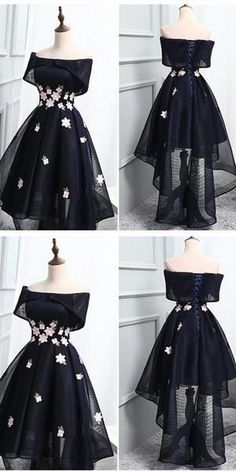Off-the-Shoulder Black Organza Homecoming Dresses With Handmade Flower ,Cheap Sh. Off-the-Shoulder Black Organza Homecoming Dresses With Handmade Flower ,Cheap Short Prom dresses short Cheap Short Prom Dresses, Black Prom Dresses, Pretty Dresses, Sexy Dresses, Beautiful Dresses, Fashion Dresses, Dress Prom, Dress Black, Elegant Dresses