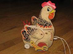 Vintage Fisher Price 120 Cackling Hen Pull Toy Chicken | eBay