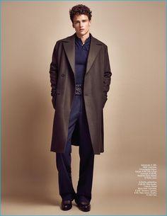 Branislav Simoncik photographs Simon Nessman in a single-breasted H&M coat for GQ Portugal.