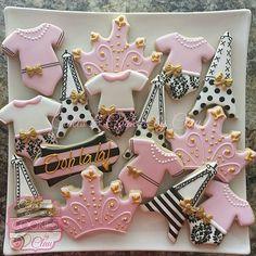 Girl Baby Shower Cookies, Decorated Cookies, Parisian Themed Baby Shower Cookies, Eiffel Tower Cookies, Tiara Cookies, Onesie Cookies, Black & White Striped Cookies, Pink & Gold Cookies
