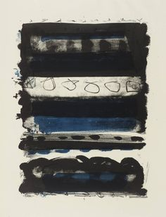 Abstract Patrick Heron Black and Blue Stripes 1958 Post Painterly Abstraction, Abstract Art, Abstract Expressionism, Patrick Heron, Art Informel, Textured Background, Blue Stripes, New Art, Artwork