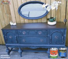 Modern Vintage, https://www.facebook.com/TRWModernVintage, lived up to their name with this makeover!  This buffet has a modern twist with a vintage flair.  It was painted with General Finishes Coastal Blue Milk Paint and stained with our Java Gel.  It's fantastic!  Modern Vintage is a proud General Finishes retailer.  Stop by 110 S Prospect Ave. Hartville, Ohio to purchase your own GF products.  #generalfinishes #gfmilkpaint #javagel