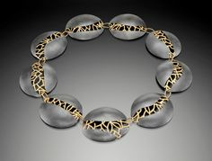 Beverly Tadeu,  stitches,  oxidized silver, 18K gold