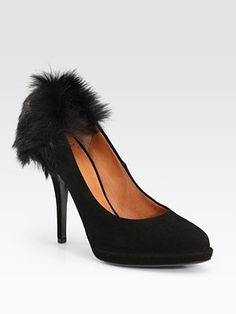 Givenchy Suede and Mink Trim Pumps