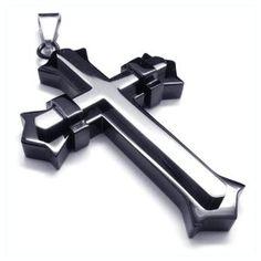 Men's Black & Silver Stainless Steel Faith Cross Pendant Necklace