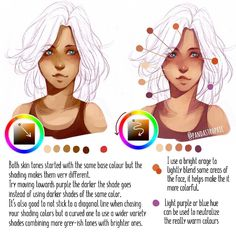 Some tips on how i chose colours for shading skin. Left is kinda monotone and yellowish while right is brighter with a wider variety of colours and the one i recommend more. I hope the text is readable let me know if its not! - After i finish the shading i blend some areas lightly with bright orange which helps make it more colourful - I also use dark red/orange to colour under the eye (more as a stylistic choice) - I sometimes use purple or blue very lightly, when your pallet is really…