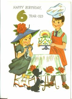 Vintage Childrens Birthday Card, UNUSED, 6 YEAR OLD, Boy and Girl With Birthday Cake