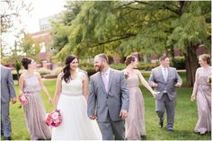 Jill Gum Photography | Truman State University | Bridal Bouquet | Garden Themed Wedding | Shades of Pink and Taupe | Glitter Bridesmaid Dresses | Grey Suits | Bridal Party | IL Wedding Photographer