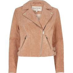 River Island Blush pink suede biker jacket (2,130 MXN) ❤ liked on Polyvore featuring outerwear, jackets, coats, river island, coats / jackets, pink, sale, women, suede biker jacket and red biker jacket