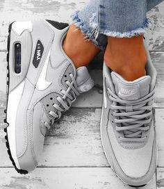 Grey Nike Sneakers, Grey Trainers, Nike Air Shoes, Nike Tennis Shoes, Air Max Sneakers, Nike Air Max Trainers, Cool Nike Shoes, Sports Shoes, Nike Shox Shoes