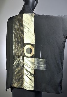 """Back of silk shirt created by Michael Kane & Steve Sells.  """"Small Pieced Square Blouse in Black & Neutrals"""""""
