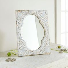 Mother-of-Pearl Inlay Mirror  ITEM NUMBER W6888 #wisteria